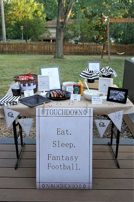 Eat. Sleep. Fantasy Football. food table for fantasy football draft party.