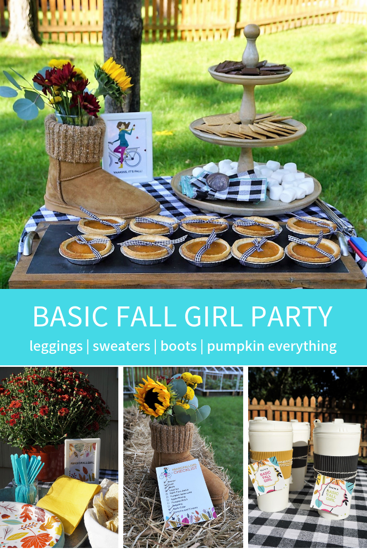 Grab your girls! It's time to do all things basic fall girls do-- drink cider and pumpkin spice lattes, sit around the bofire, and do it all in leggings, sweaters, and scarves! Click here to re-create this fun fall party! | Legally Crafty #fallparty #bonfire #girlsnightin #girlsnight #basicfallgirl