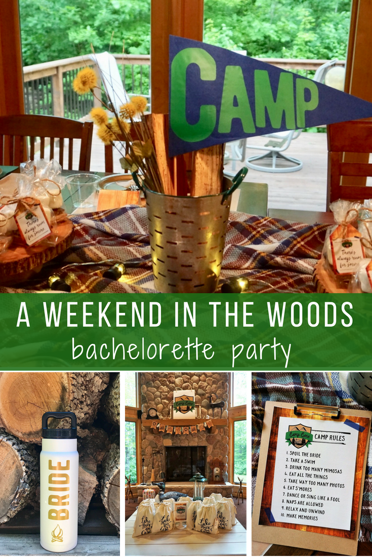 A camp themed bachelorette party is a great way to celebrate a bride to be at a laid back cabin setting. Click her for DIY table ideas, decor ideas, and easy to put together favors for all your gal pals! #bacheloretteparty #camptheme #cabinbachelorette #lastflingbeforethering #bachelorettepartyideas