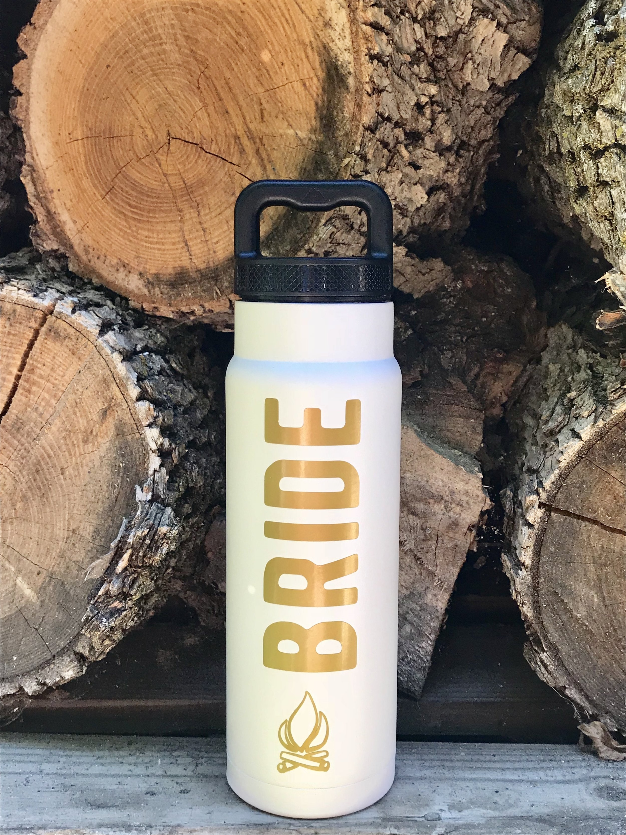 Bride water bottle made using Cricut machine and gold vinyl. Great for a camp themed bachelorette party.