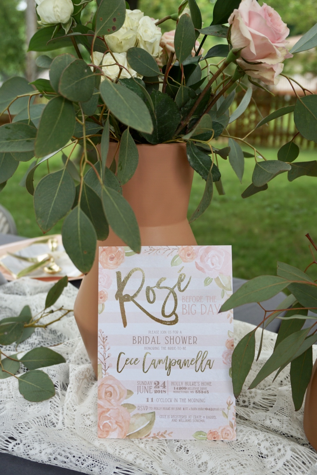 Rosé Before the Big Day bridal shower invitation