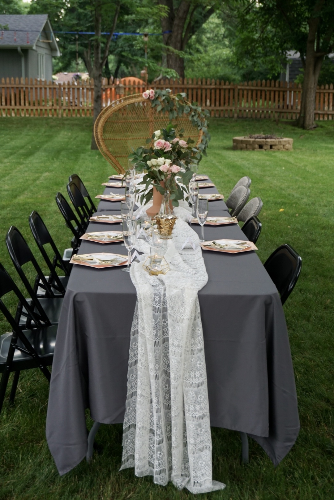 Boho bridal shower tablescape