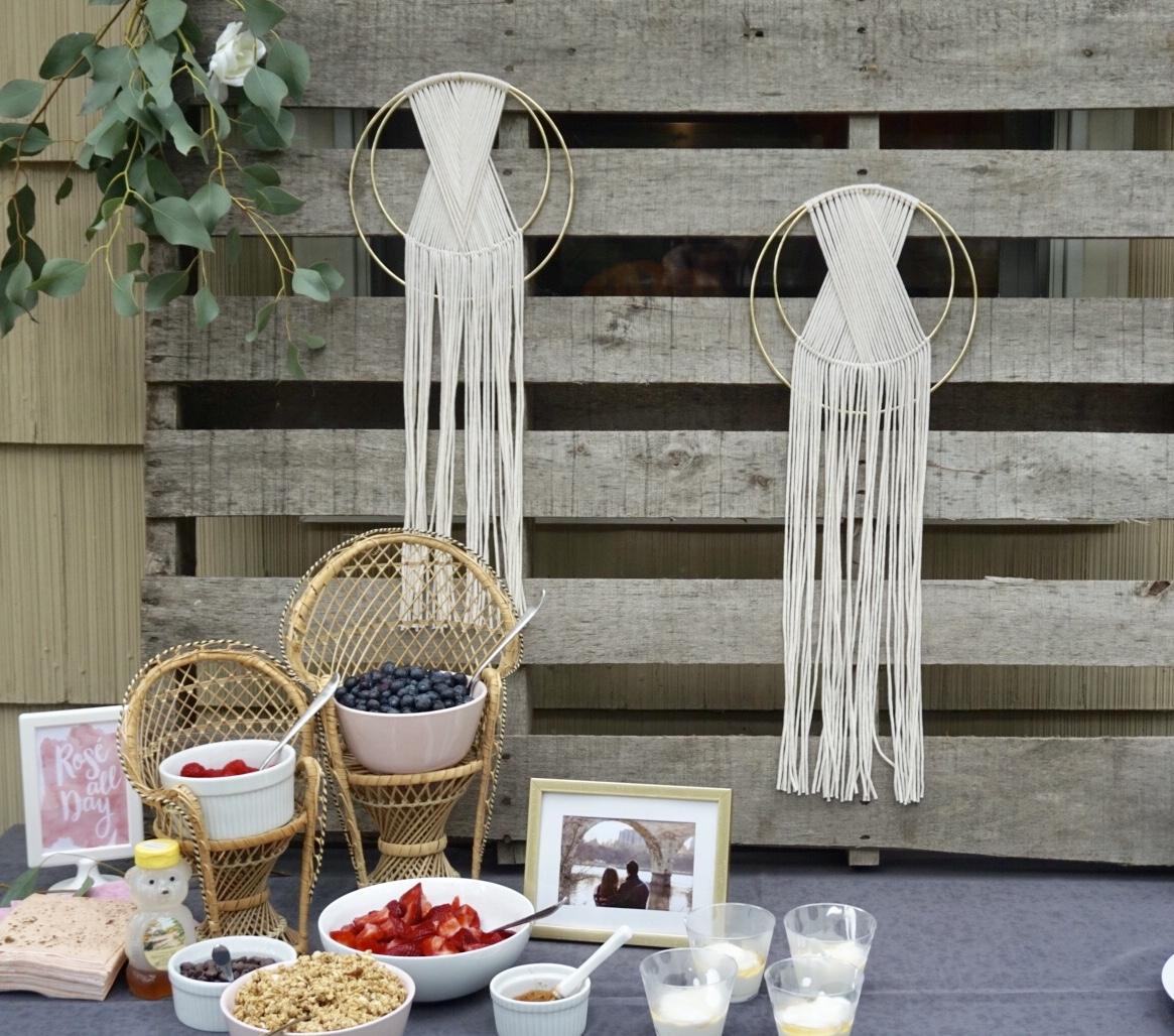Gold hoop art for boho bridal shower