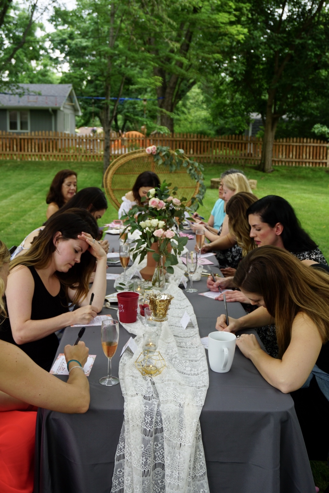 Bridal shower guests playing games