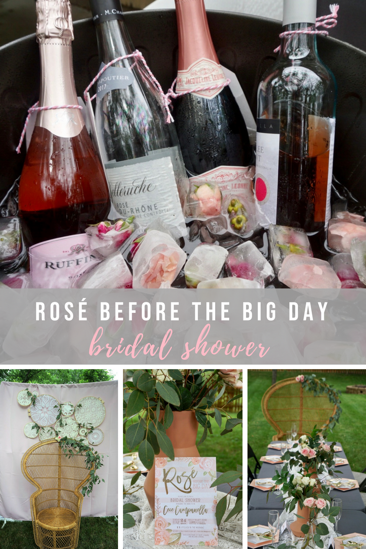 Any rosé loving bride is sure to love this boho bridal shower theme! Click here for boho-inspired decor, food ideas, and everything you need to know to create a rosé station complete with flower filled ice cubes. #bridalshower #bohobridalshower #bohobride #rosebeforethebigday #showerideas #bridalshowerthemes