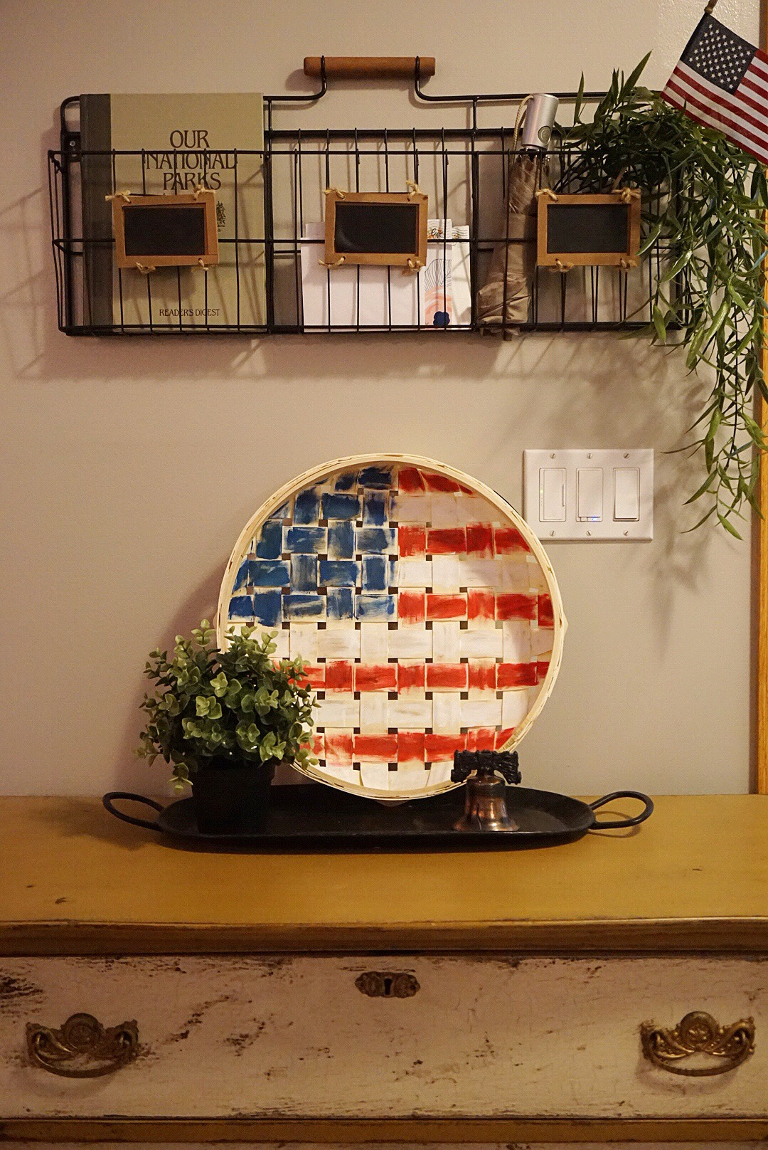 DIY 4th of July decor displayed in the entry way.