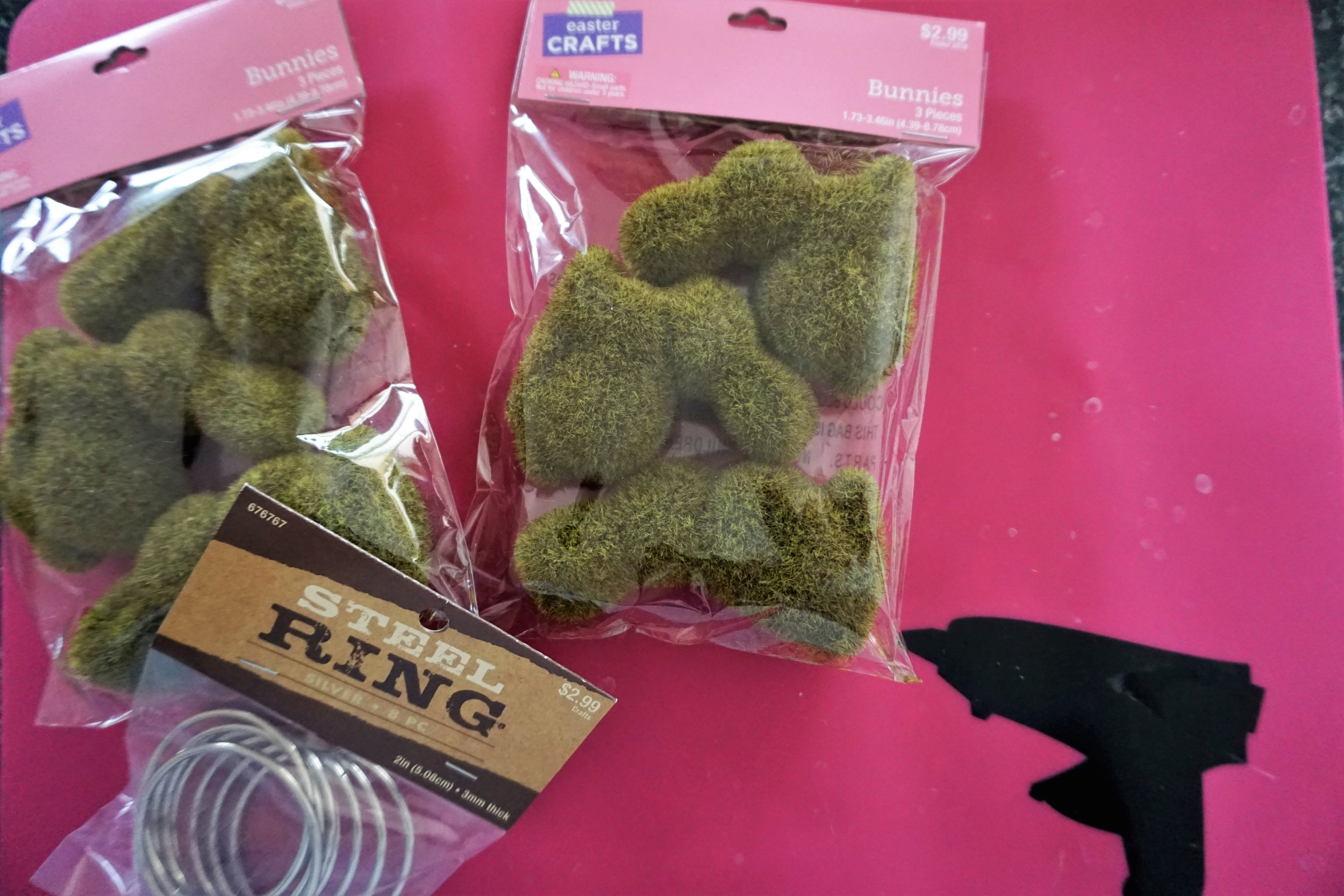 Moss bunnies from Hobby Lobby and steel rings to make DIY Easter napkin rings.