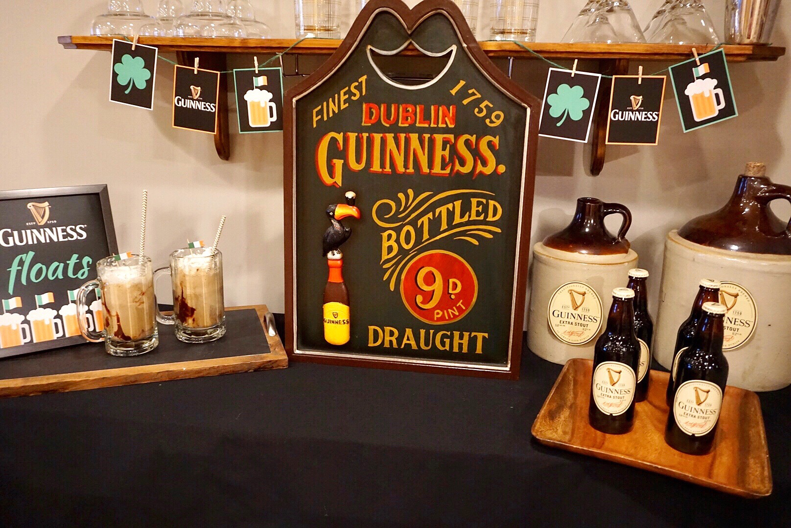 Guinness themed bar for St. Patrick's Day.