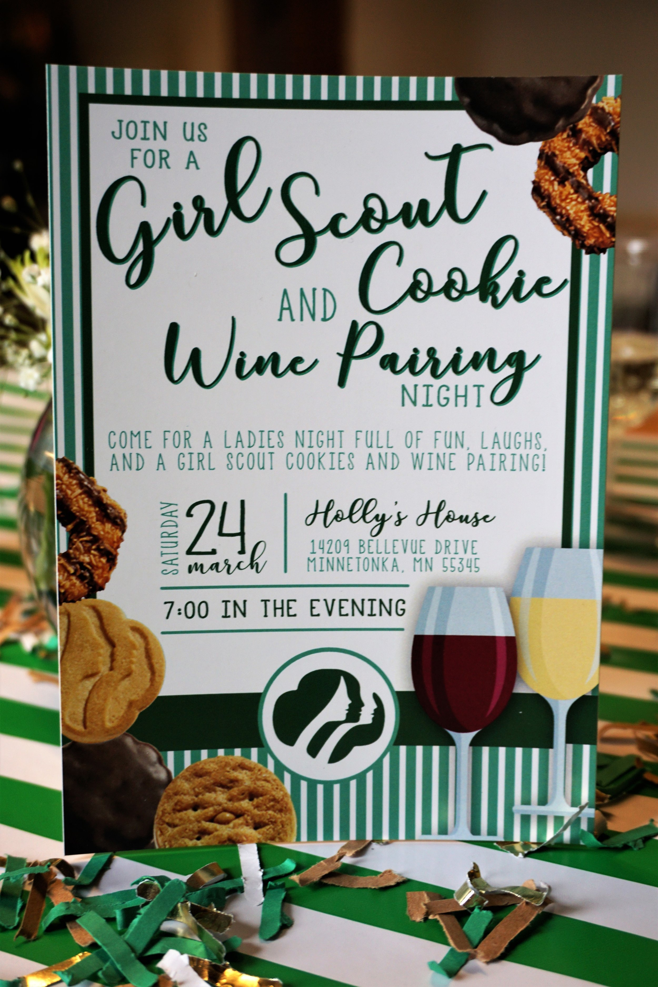 Girl Scout cookie and wine pairing party invitation.