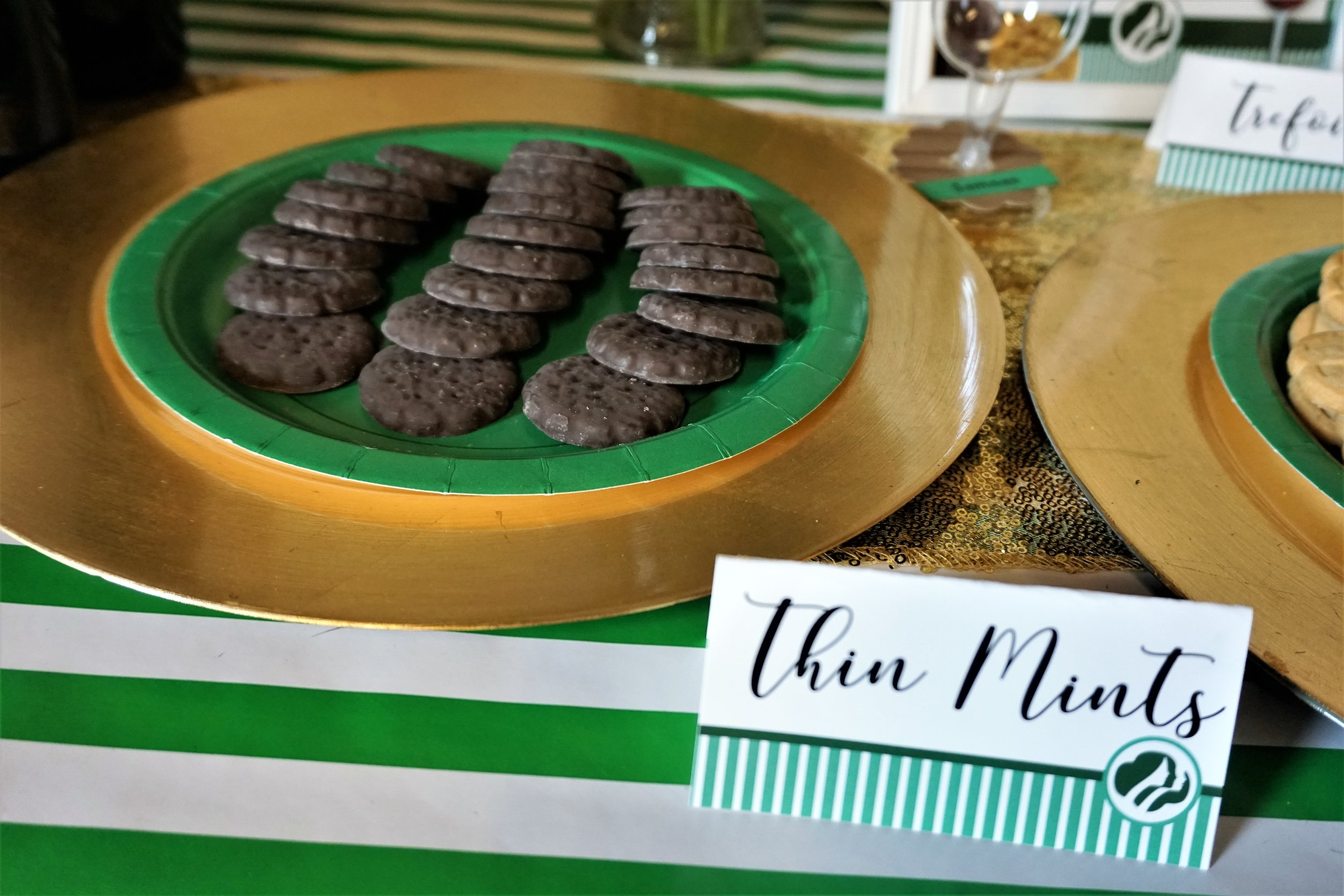 Thin Mint cookies served for a Girl Scout Cookie and wine pairing party.