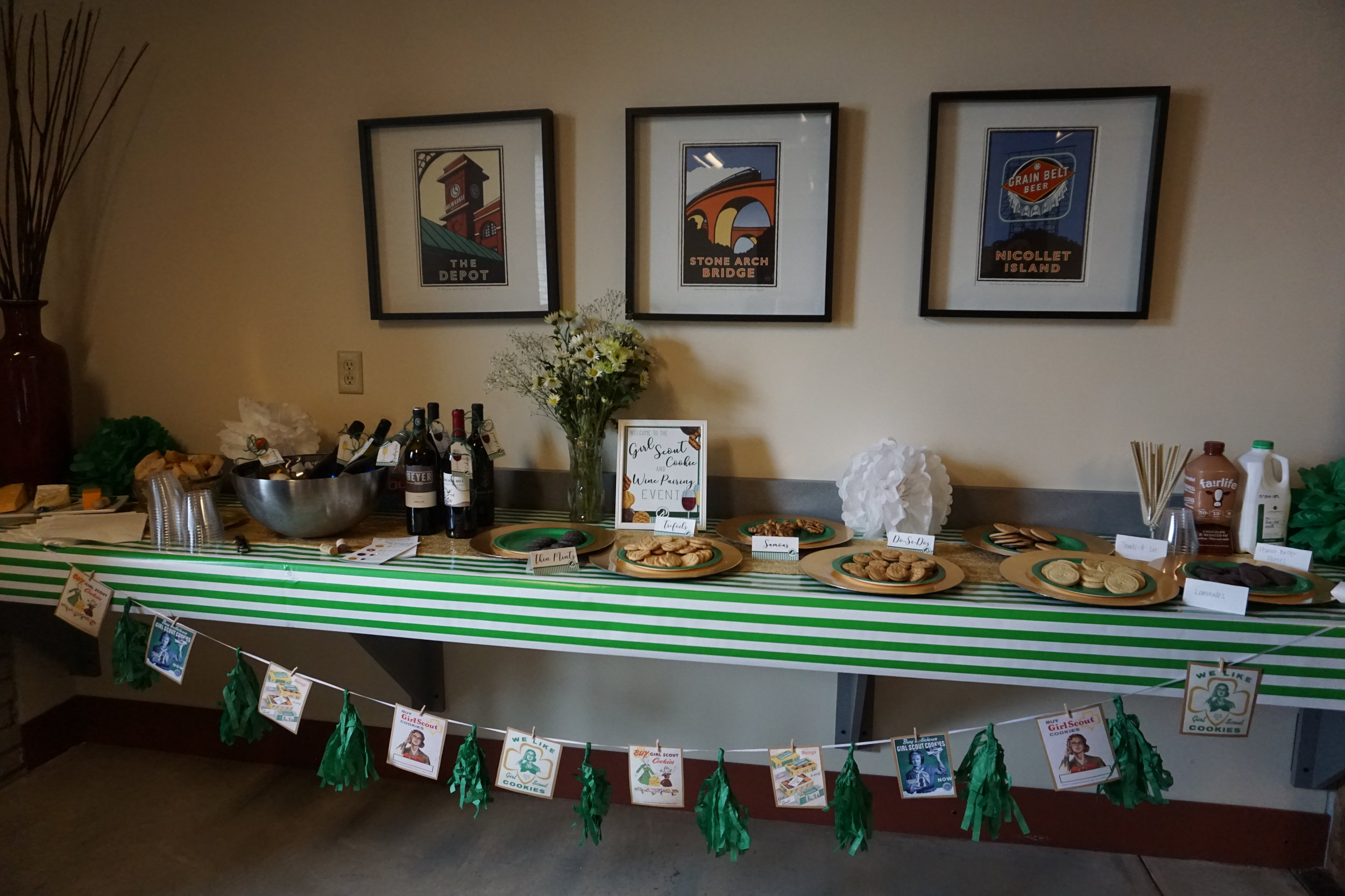 Girl Scout cookie and wine pairing party serving table.