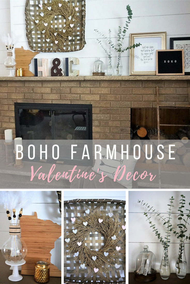 Neutral Valentine's decor with soft pinks. Learn how to mix a few boho DIYs with store bought pieces. #valentinesdecor #valentinesmantel #bohovalentines #valentinediy #valentinecrafts #farmhousevalentinesdecor
