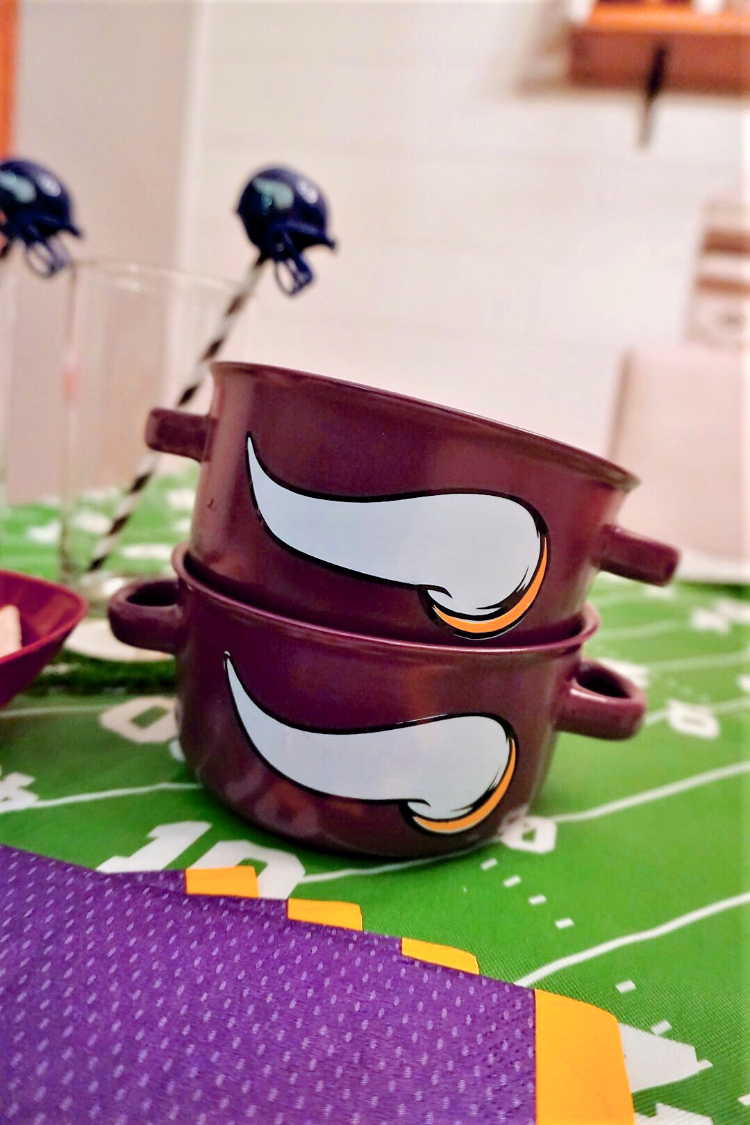 Dollar Store DIY football team soup bowls.