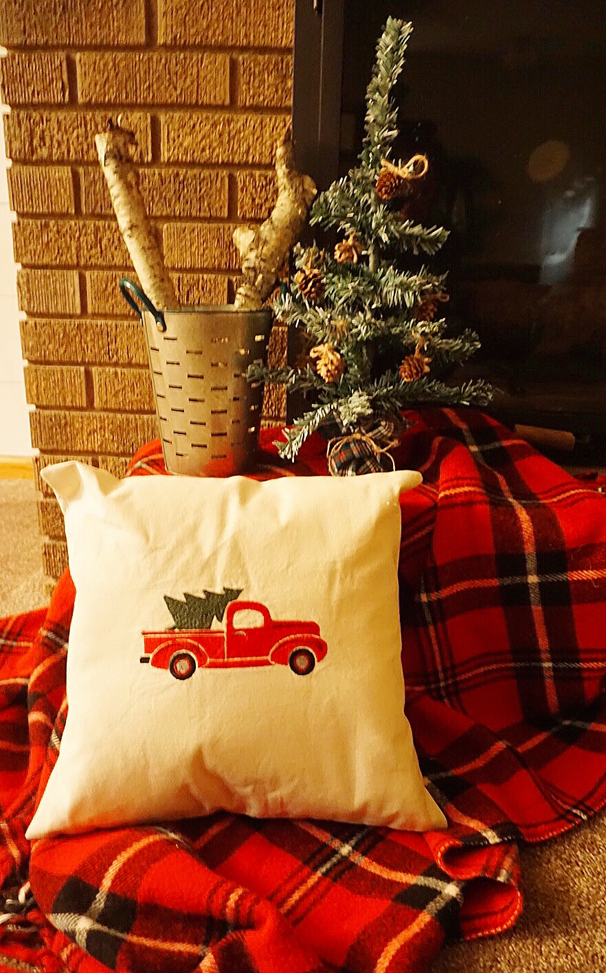 Who doesn't love the red truck for Christmas decor?