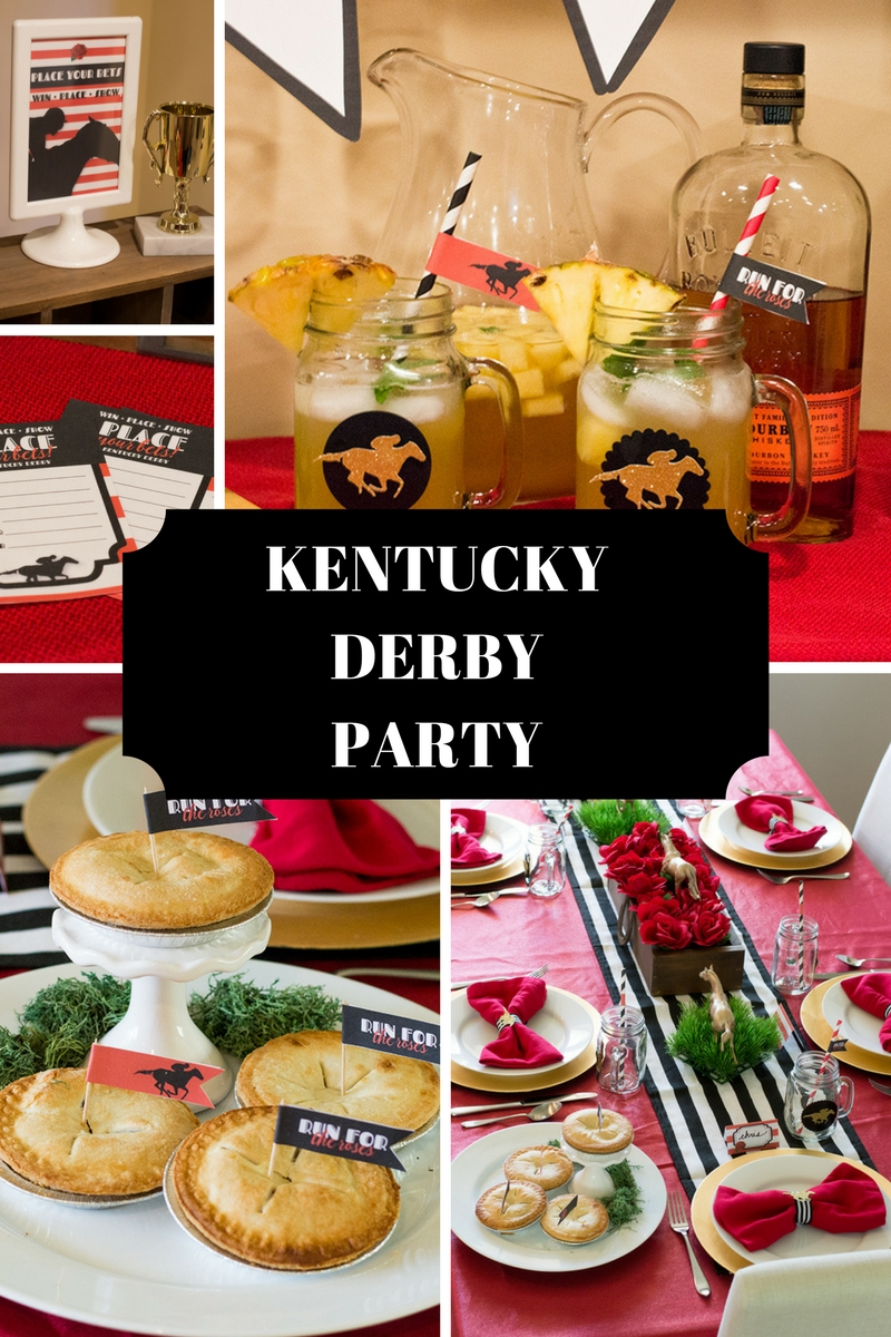 Dazzle your guests with a festive Kentucky Derby dinner party. Click her for DIY decor ideas, food and drink recipes, and a link to the coordinating free printables! #kentuckyderby #derbyday #runfortheroses #diypartydecor #dinnerparty #partythemes