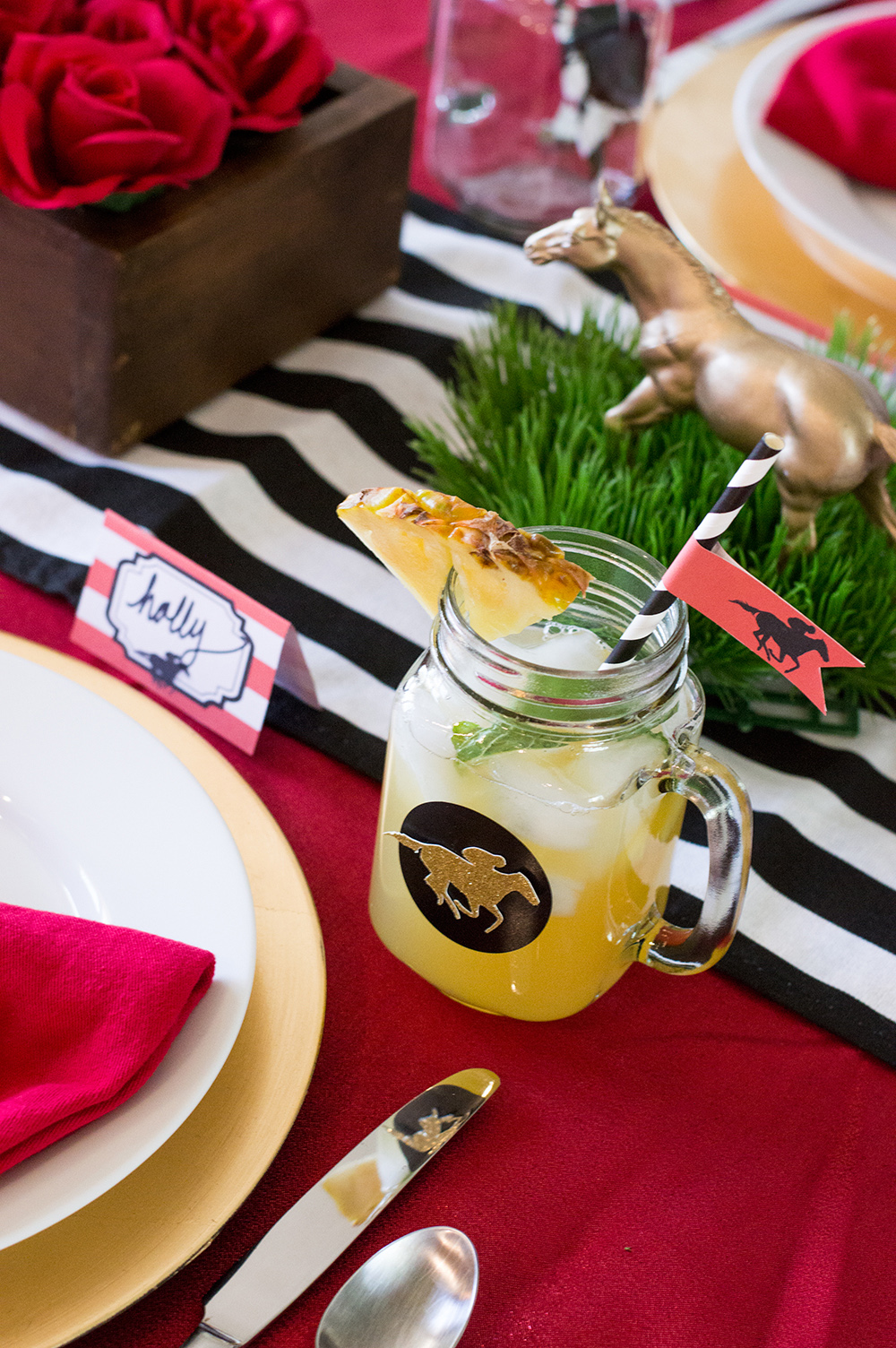 Kentucky Derby mint julep sangria in Mason Jar glasses.