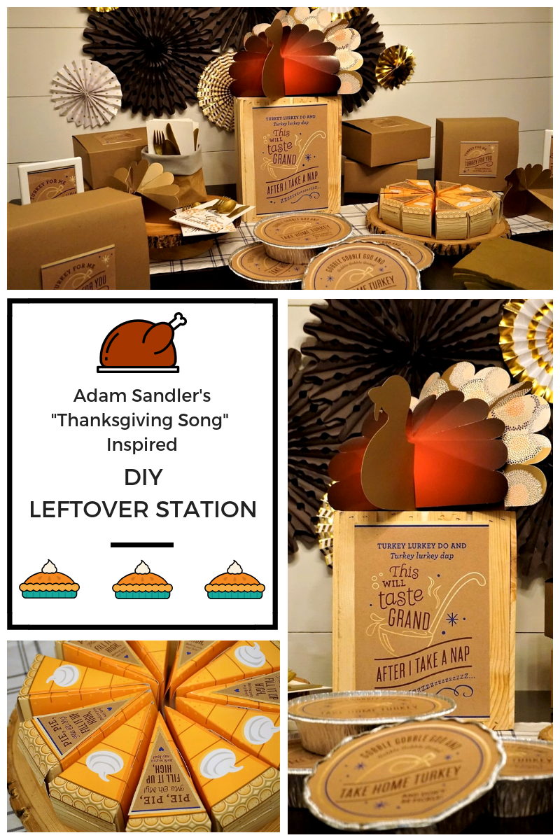 Turkey for Me, Turkey For You. You have to love Adam Sandler's Thanksgiving Song which was the inspiration for this fun Thanksgiving Leftover Bar. Click for more ideas on how to send your guests home with the leftover turkey and fixings! #thanksgiving #friendsgiving #leftoverbar #thanksgivingleftovers