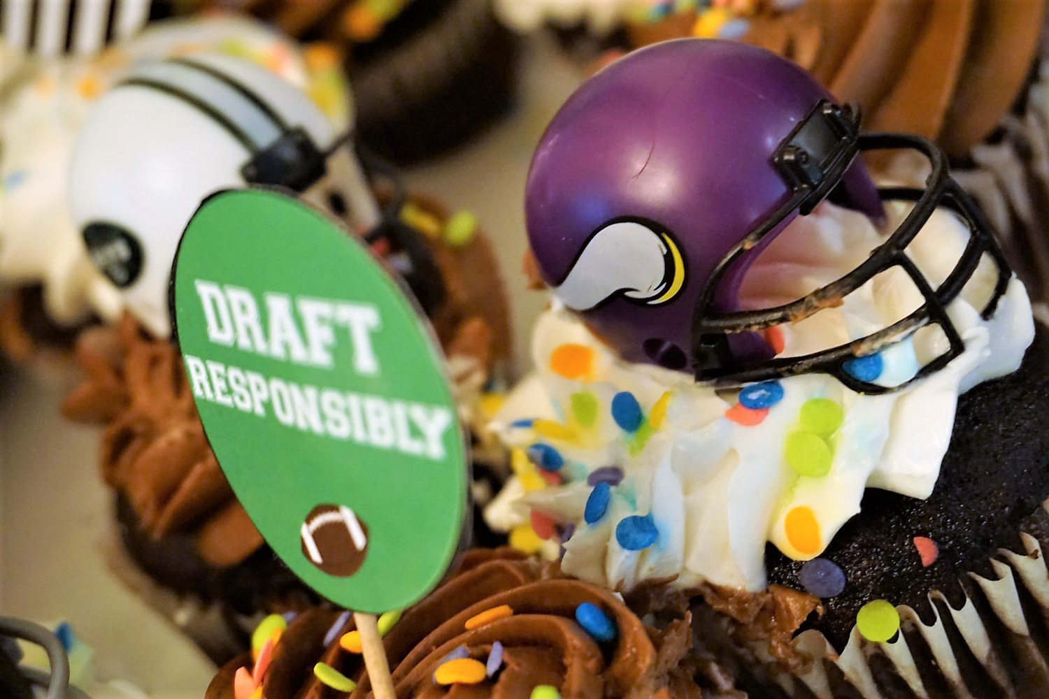 Draft responsibility cupcake toppers for fantasy football draft party