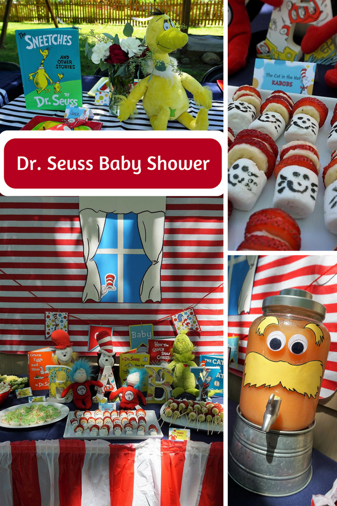 Dr. Suess makes a great theme for a baby shower! Click here for ideas for themed food, decorations, favors, and more! #drseuss #babyshower #babyshowerthemes #babyshowerideas