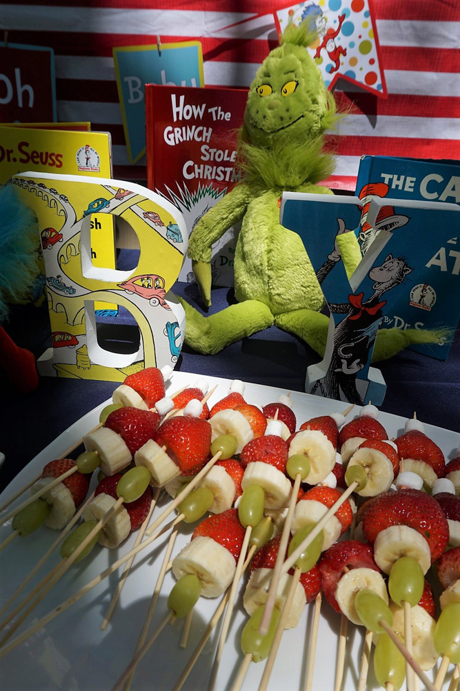 Grinch themed fruit kabobs