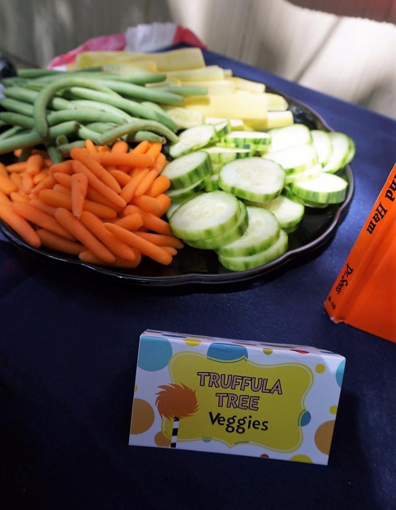Truffula Tree veggies for a Dr. Seuss themed event