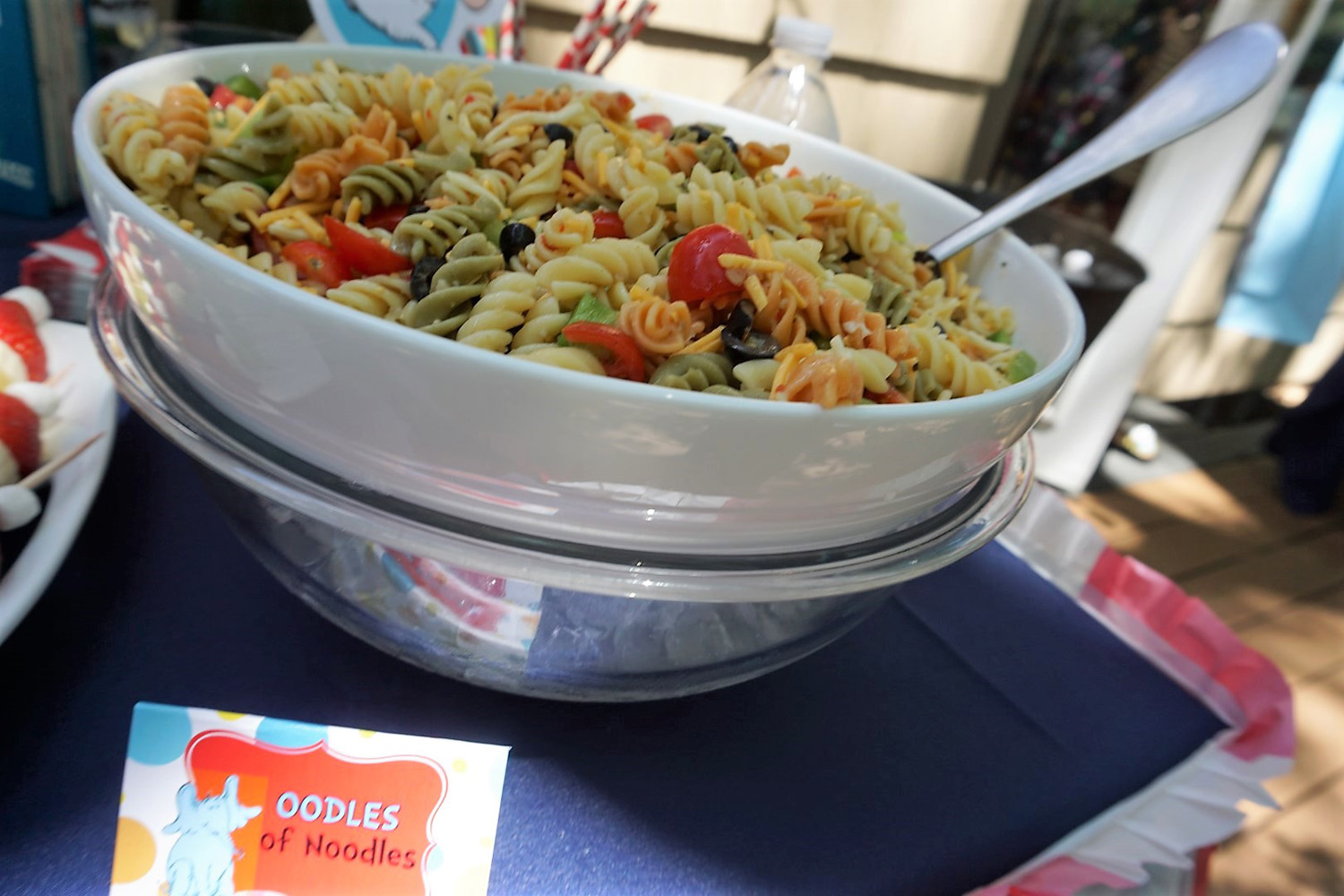 Oodles of Noodles pasta salad for a Dr. Seuss themed party