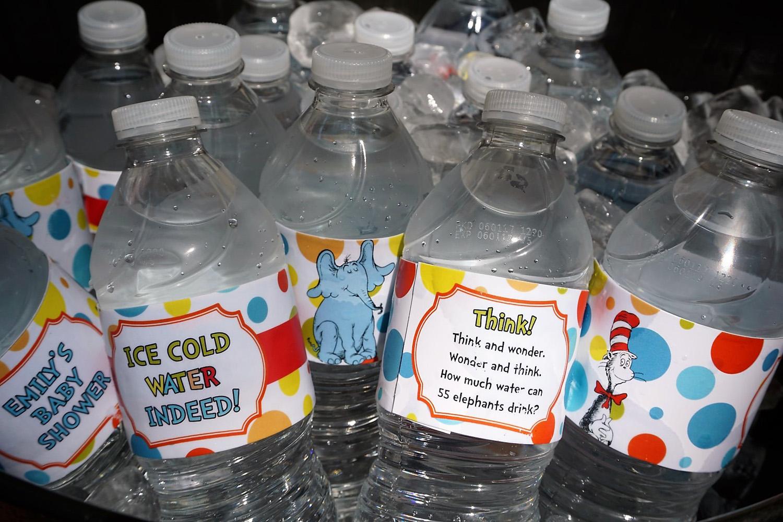 Dr. Seuss themed water bottle labels.