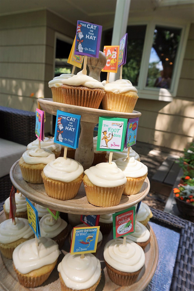 Dr. Seuss cupcakes with DIY mini-book toppers.