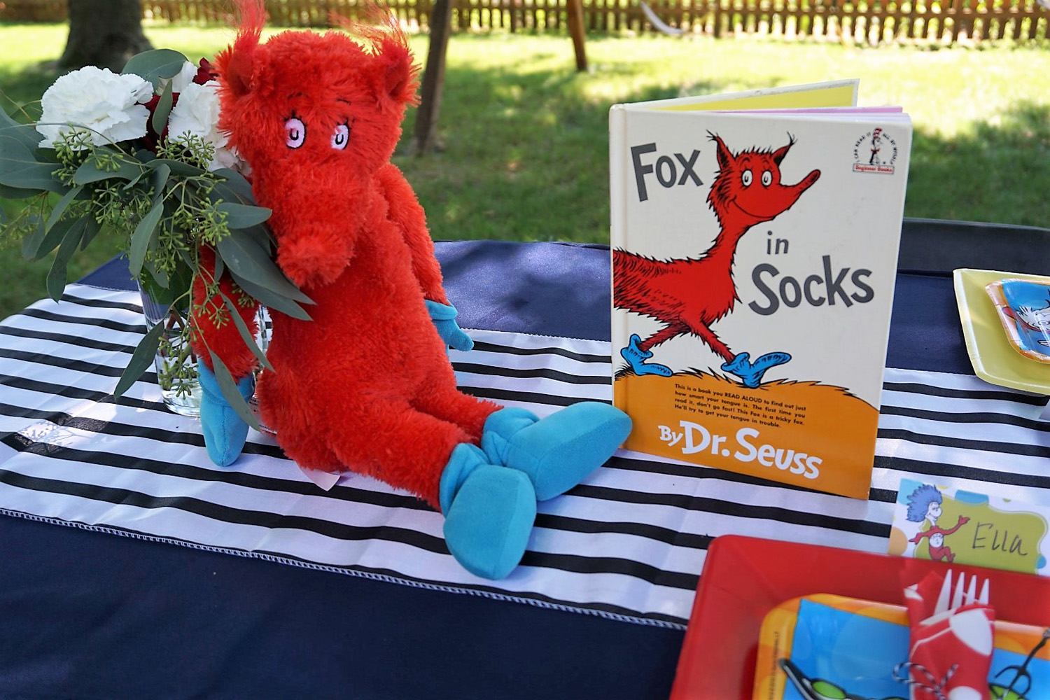 Fox in Socks as a centerpiece for a Dr. Seuss baby shower.