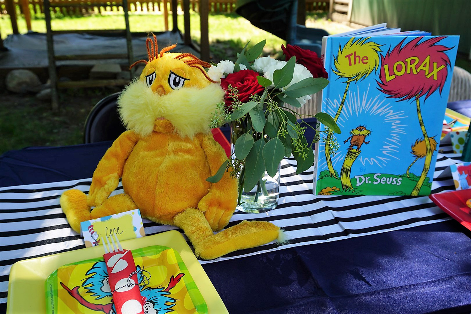 The Lorax as a centerpiece for a Dr. Seuss baby shower.