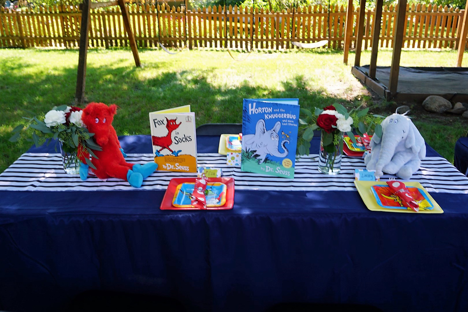 Use books and stuffed animals as centerpieces for a Dr. Seuss themed baby shower.