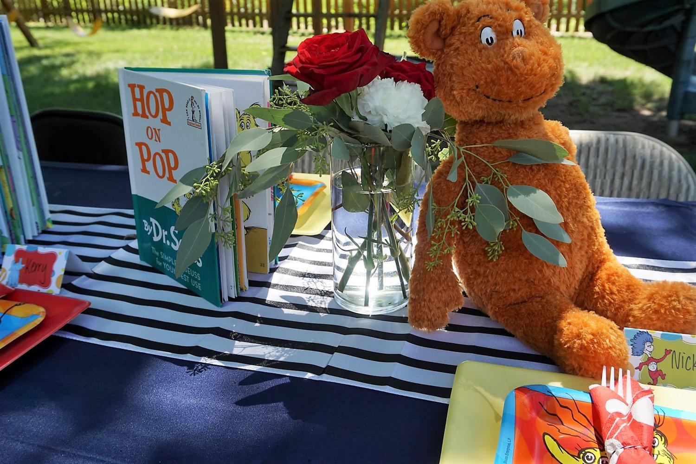 Hop on Pop as a centerpiece for a Dr. Seuss baby shower