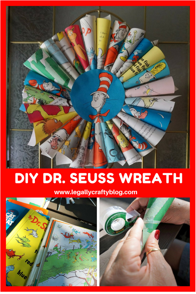 Create a Dr. Seuss themed wreath with book pages! Click here for the tutorial and supply list! #drseuss #drseusstheme #bookcrafts #reading #diywreath