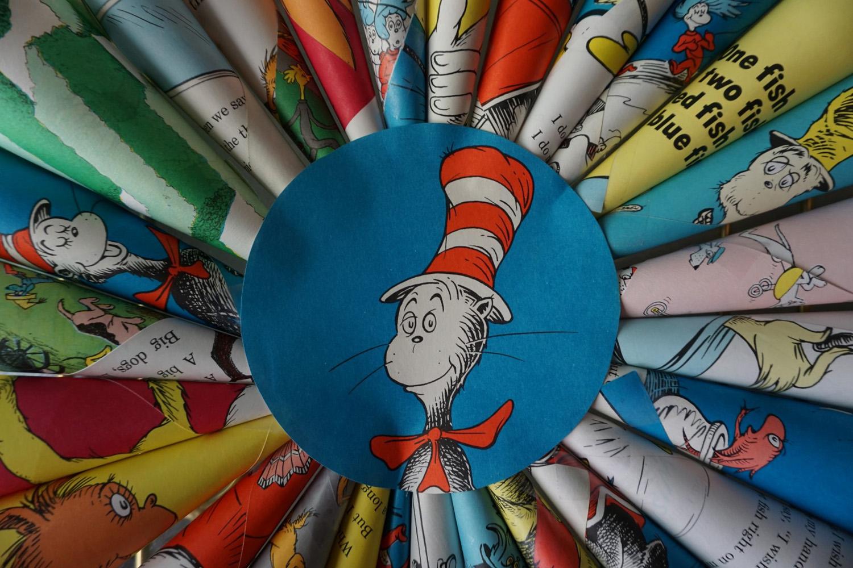 Dr. Seuss book wreath