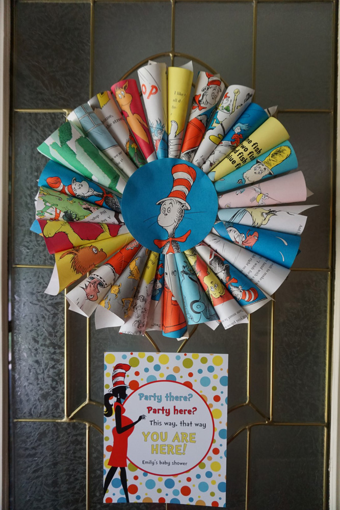 Dr. Seuss book wreath with baby shower welcome sign