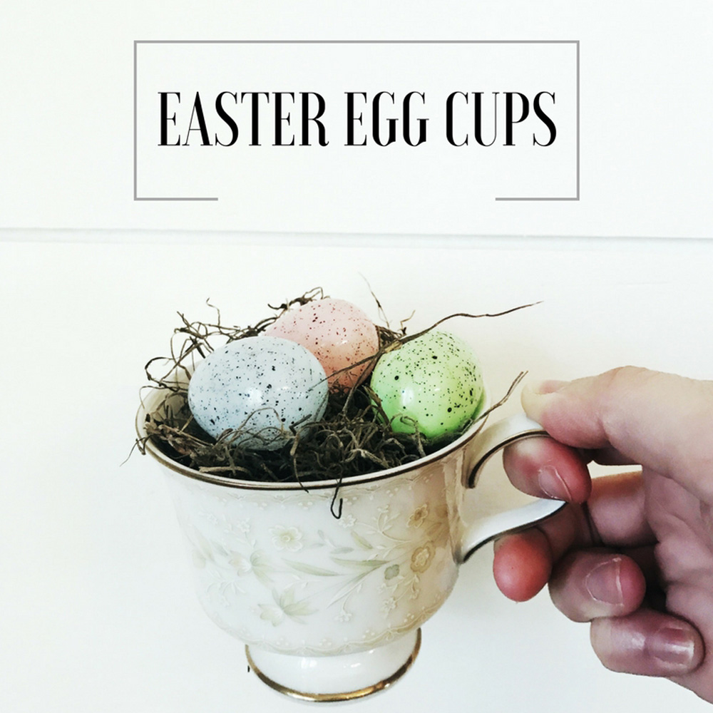 Make the perfect addition to Easter place settings with this easy DIY with moss, tea cups, and speckled eggs. #eastertable #easterdiy #eastercrafts