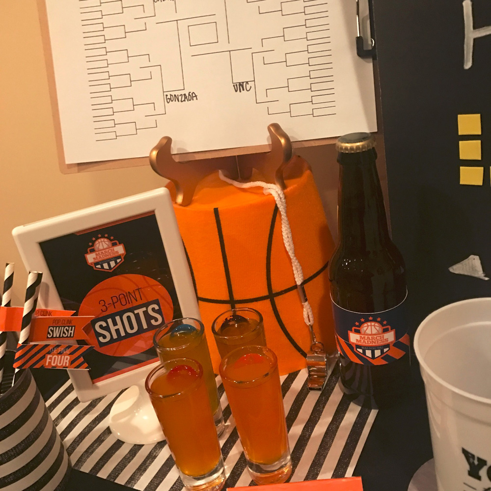 March Madness bracket and 3 point shots to drink.