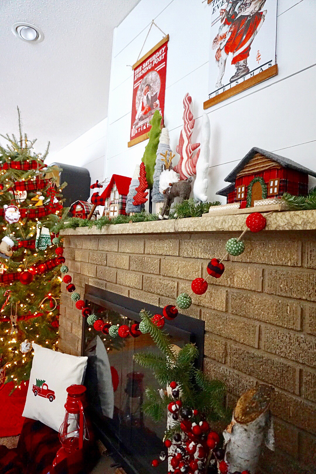 Classic red and green Christmas mantel.