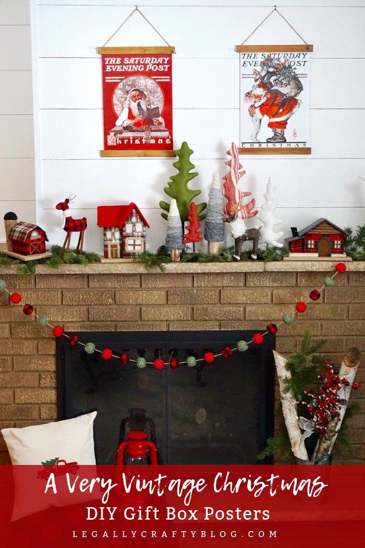Create a classic vintage poster with Christmas gift boxes and a few additional supplies! Click here to get the supply list and tutorial! #diychristmasdecorations #christmasmantel #christmascrafts #christmasdiy #plaidchristmas #vintagechristmas