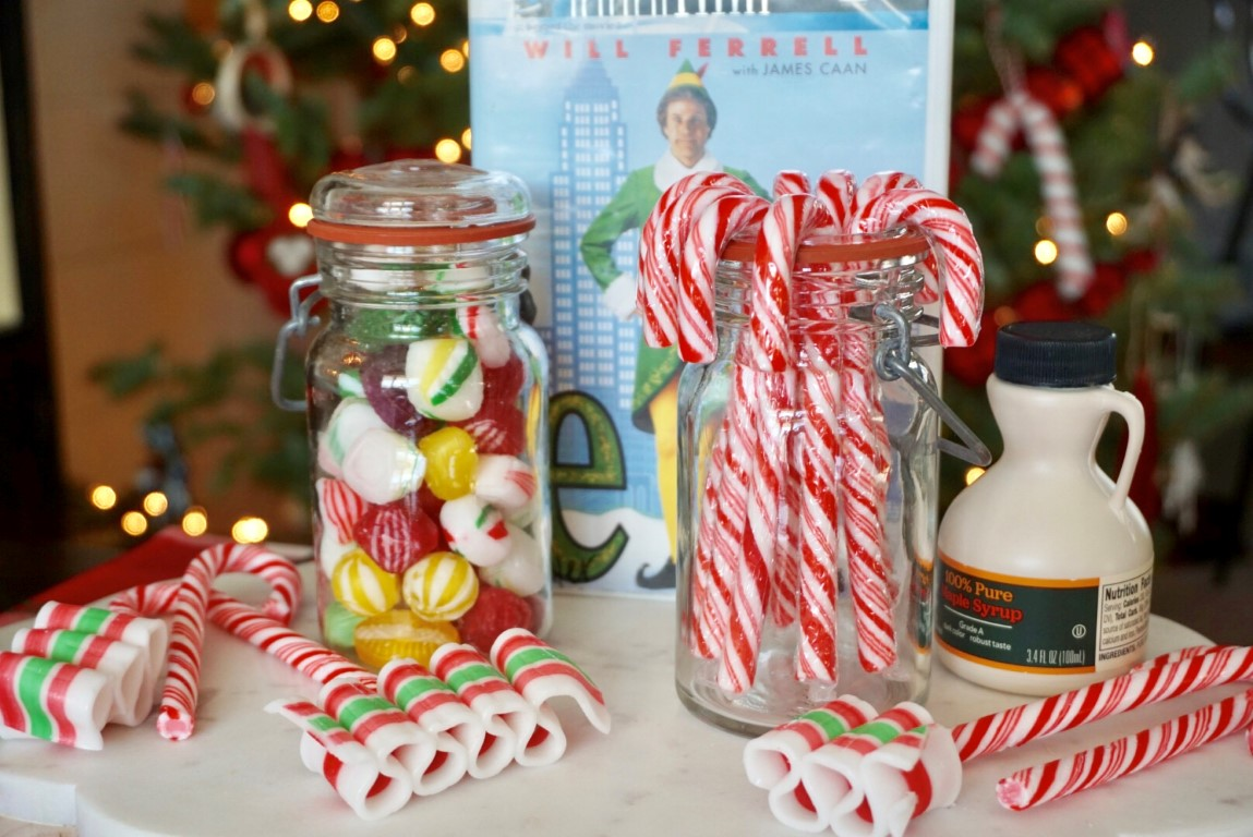 Serve candy, candy canes, and syrup or just use it as a cute centerpiece for a movie night watching Elf.
