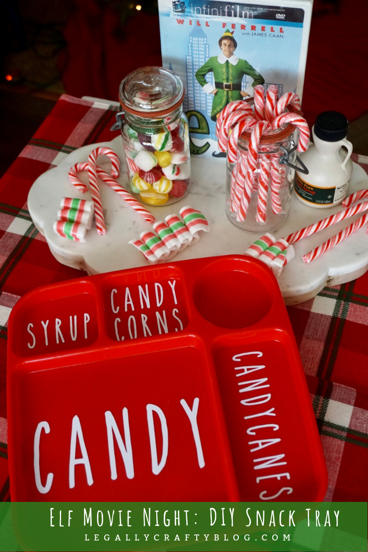 Craft your own treat tray for an Elf Movie Night! It's got space for the 4 main food groups of candy, candy canes, candy corns, and syrup! Click here for the tutorial and supply list! #christmasmovienight #elf #christmasmovies #christmastreats #familymovienight #christmasfun