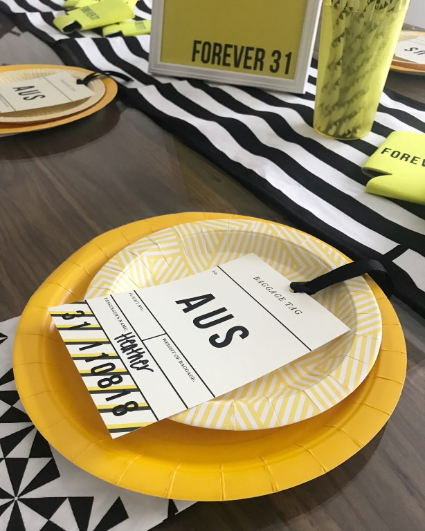Yellow solid paper plates, geometric yellow paper plates used for Forever 31 birthday party table seting.