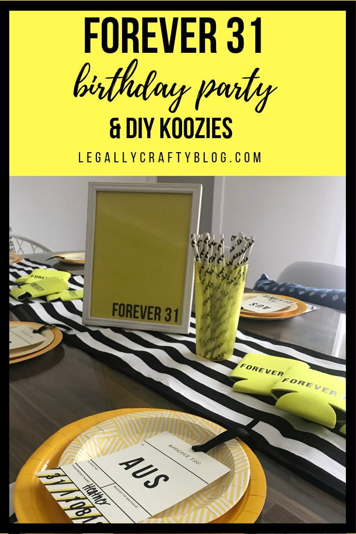 Forget Forever 21, this Forever 31 birthday party took the festivities on the road to a girl's trip to Austin, Texas! Click here for tips on how to pack party supplies and a DIY even when you are flying to your destination! #girlsweekend #birthdayparty #31stbirthday #forever31 #blackandyellowparty #girlstrip #partyonthego