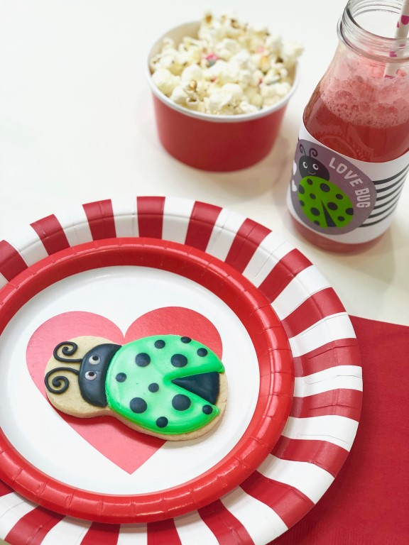 Love bug themed cookies are perfect for a kid's Valentine's party or playdate.