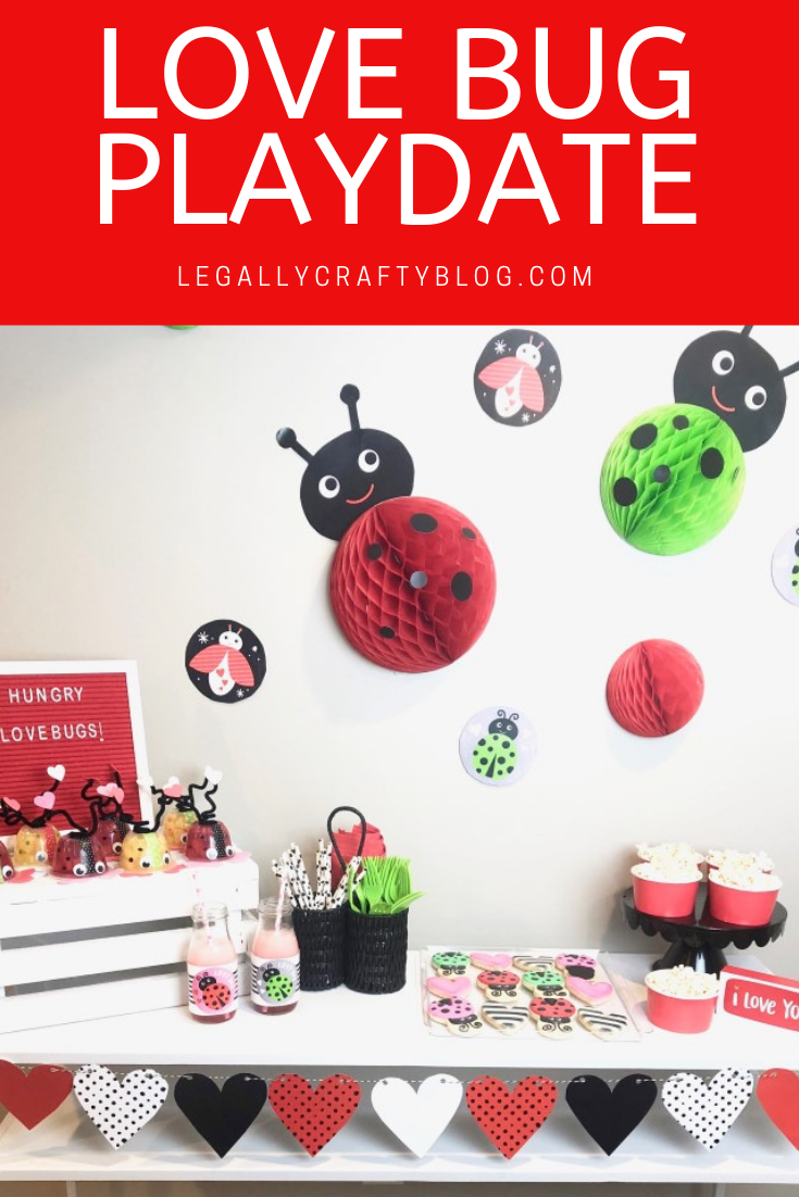 A love bug themed playdate is easy with a few fun DIYs using printables and honeycombs and some themed snacks! Click here to learn how to make love bug fruit cups that your kids will love! #valentinesday #valentinesnacks #valentinetreats #valentineparty #classroomvalentines #kidsdiy
