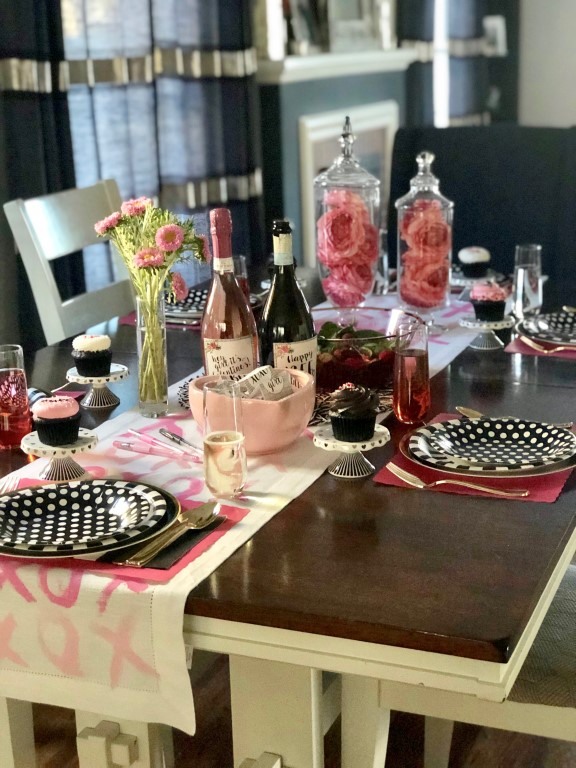 A Galentine's Day table with DIY table runner.
