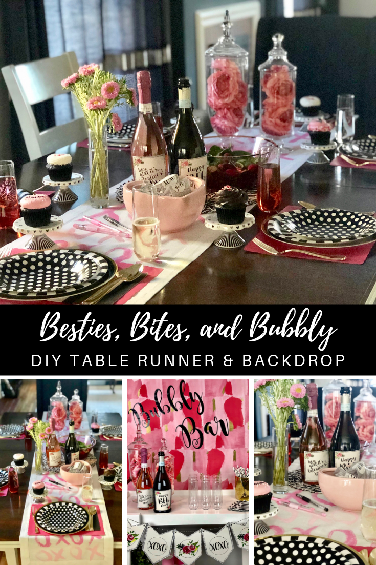 Grab your best gal pals and host a Galentine's Day gathering full of besties, bites, and bubbly! Click here to learn how to create your own DIY Valentine table runner and make an easy bar backdrop using wrapping paper! #galentinesday #valentinesday #valentineparty #galentineparty #partydiy #diytablerunner #diybackdrop