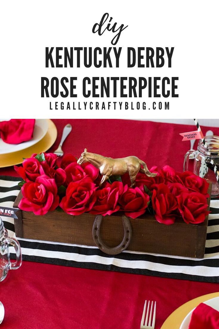 Create the perfect centerpiece for you Kentucky Derby party with supplies from the dollar store. Red roses, a spray painted toy horse make it super simple! Click here for the supply list and tutorial! #kentuckyderbyparty #derbyparty #derbyday #runfortheroses #diycenterpiece #dinnerparty #diydecor