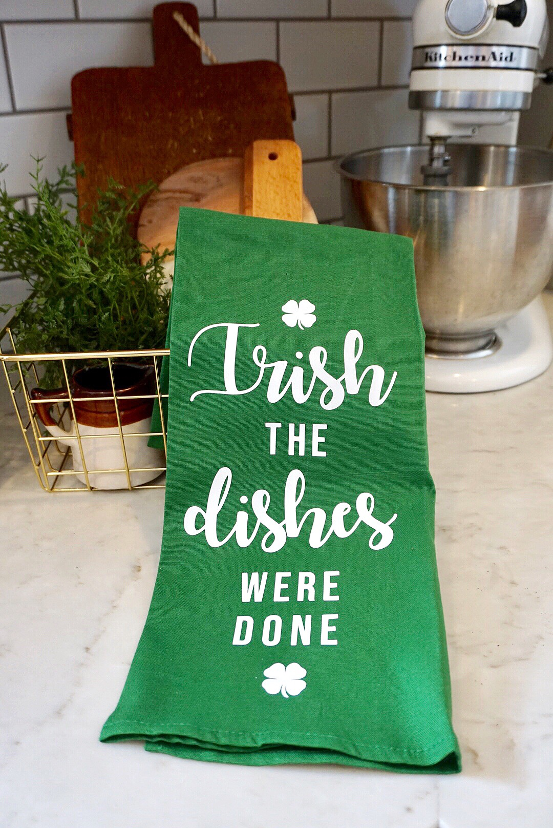 St. Patrick's Day green tea towel