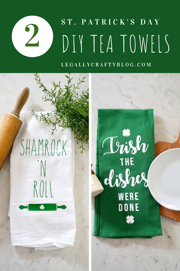 Grab two different designs to make your own St. Patrick's Day themed tea towels using your Cricut and Cricut Easy Press! #cricut #cricutmade #cricutironon #cricutprojects #cricuteasypress #stpatricksdaydecor #diyteatowels